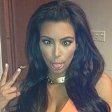 Kim Kardashian got silly for the camera. Source: Instagram user kimkardashian