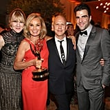 Lily Rabe, Jessica Lange, Ryan Murphy, and Zachary Quinto posed together at the Fox party. — Additional reporting by Laura Marie Meyers