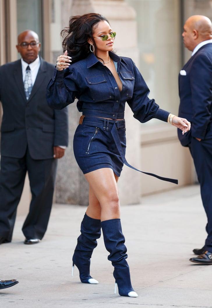 Style Inspiration : Rihanna in a beanie, bomber jacket, maxi
