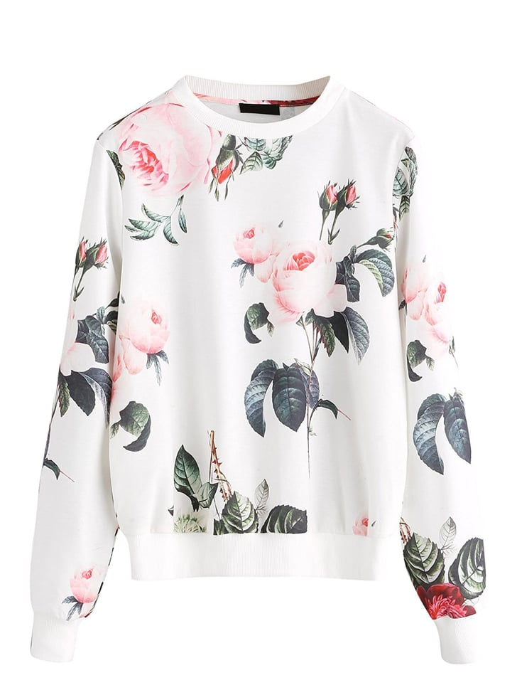 Romwe Floral Print Sweatshirt Sweatshirts On Amazon