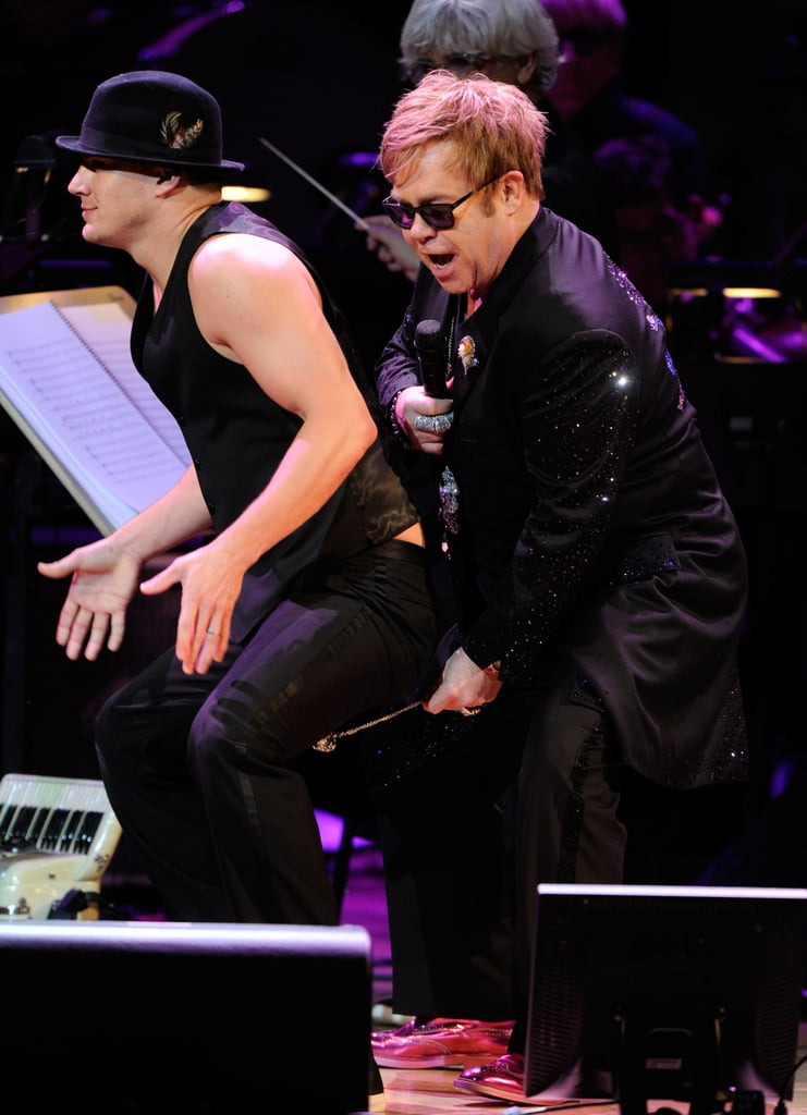 Elton John and Channing Tatum at the Revlon Concert for the Rainforest Fund at Carnegie Hall in NYC.