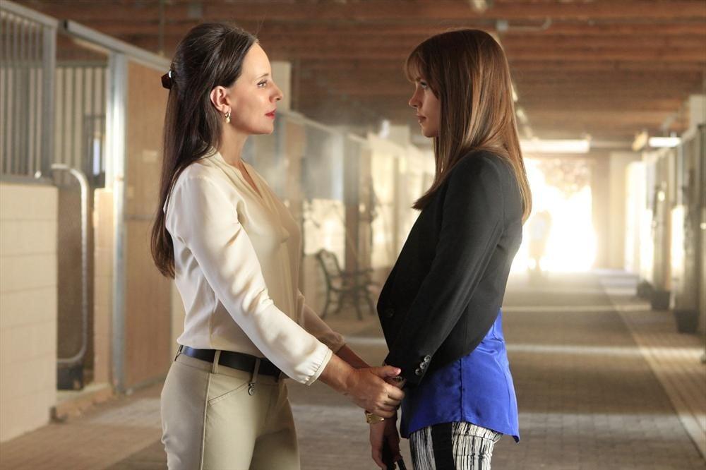 Revenge Madeline Stowe and Christa B. Allen on the season premiere of Revenge.