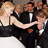 Keith adorably kissed Nicole's hand at the Cannes Film Festival in May 2017.