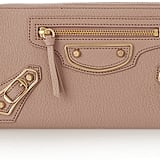 Balenciaga Holiday Collection Studded Textured-Leather Continental Wallet ($695)