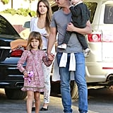 Jessica Alba and her family headed to a Sunday afternoon birthday party in LA.