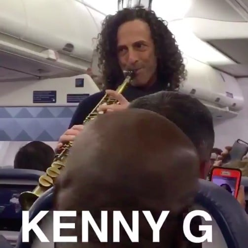 Kenny G Plays Sax on an Airplane Video