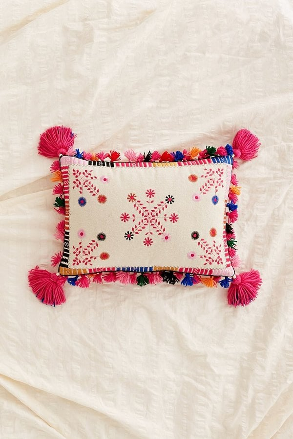 Home Outfitters Decorative Pillows : Folky Embroidered Pillow ($89) Best Home Decor Products From Urban Outfitters POPSUGAR Home ...