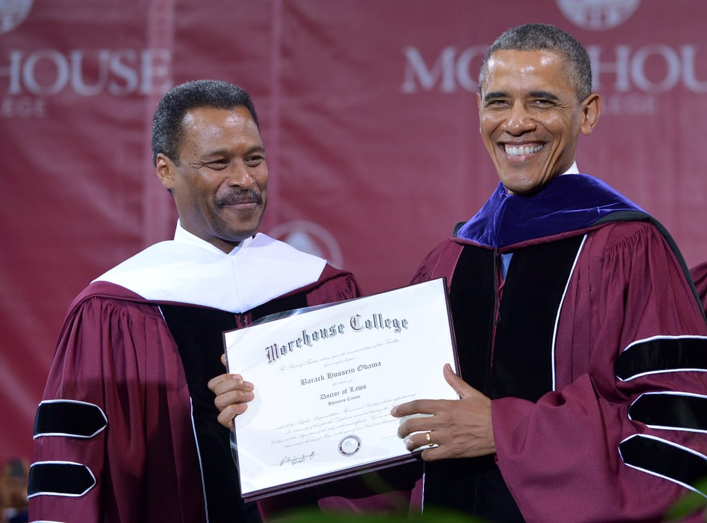 Obama posed with his honorary degree.