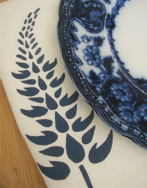 Set of Two Organic Linen Lupine Napkins