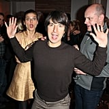 Demetri Martin goofed off with Rob Corddry and Lake Bell at a special dinner for In a World on Sunday at Sundance.
