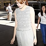 Emma Stone Brings a Pop of Pink to Her NYC Appearance