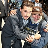Shia LaBeouf posed with several fans outside David Letterman's studios.