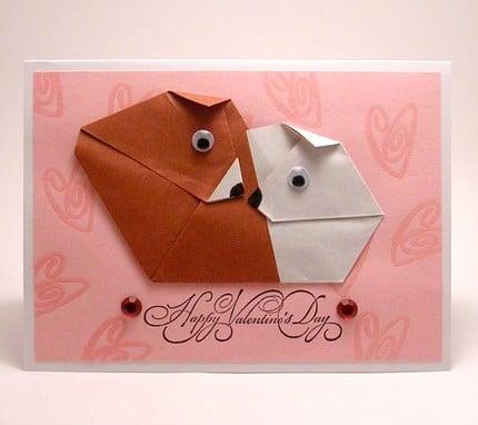 Origami Dog Valentine's Day Card by KittyKatKards ($4.25)