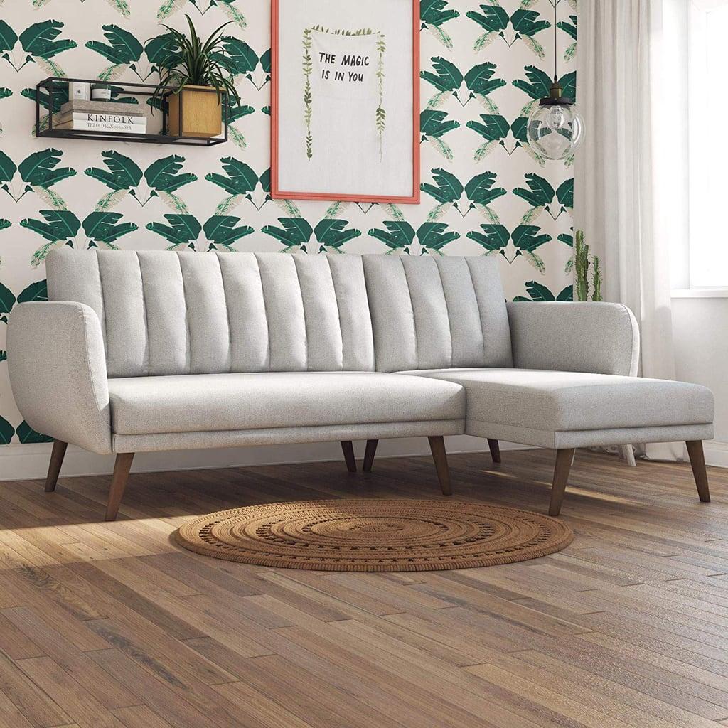 Novogratz Linen Brittany Sectional Futon Sofa