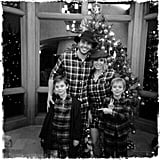Britney, Charlie, Sean, and Jayden all wore matching pajamas for their Christmas 2014 celebration.