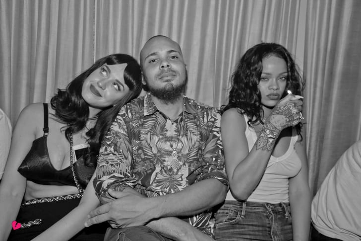 Rihanna and Katy Perry cozied up to Walshy Fire.  Source: Facebook user 1 Oak NY