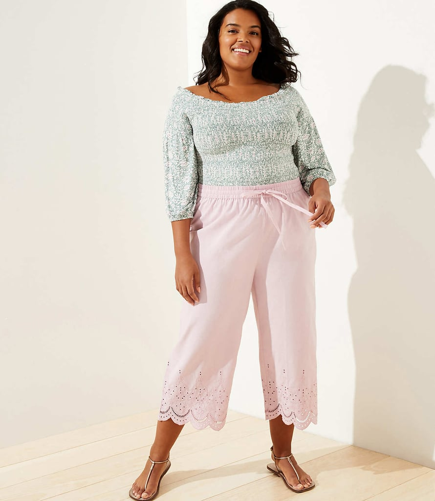 Loft Plus Loft Beach Eyelet Drawstring Pants