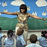Michelle Obama spent time with students at Savoy Elementary School in Washington DC.