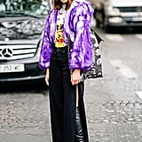 Cover Up in a Furry Purple Coat — It's Completely Unexpected