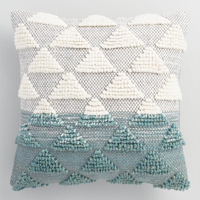 Jade Woven Triangle Indoor Outdoor Throw Pillow