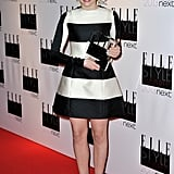 Chloë Moretz's black and white striped Stella McCartney dress lent a mod touch to the Elle Style Awards red carpet in London.