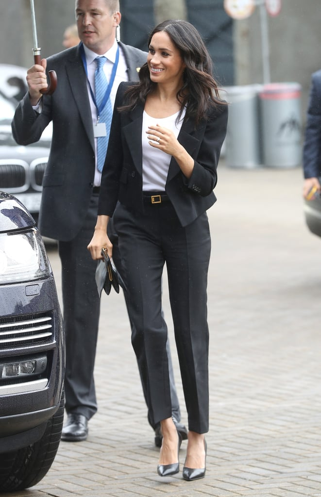 Ever since her wedding day, Meghan has been showing her support for the Givenchy brand. For a fun event alongside the Gaelic Athletic Association in Dublin in July 2018, the Duchess of Sussex wore a black Givenchy pantsuit and relaxed white t-shirt.