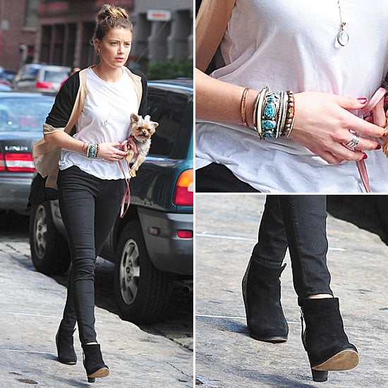 Shop Amber Heard's Ankle Boots, Jeans And Tee