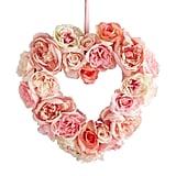 """32"""" Blush Faux Rose Heart Wreath"""