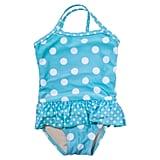 Aqua Polka Dot Swimsuit With Ruffle ($25)