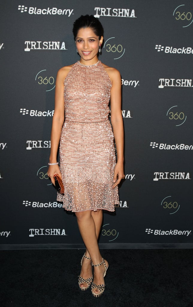 Freida Pinto glowed in sparkly Valentino at the Trishna premiere.