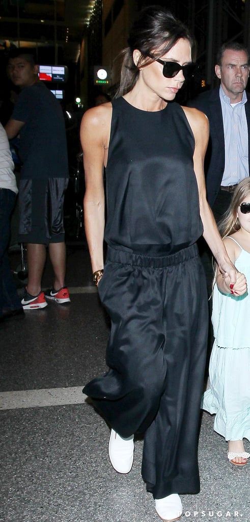 Victoria Beckham Black Jumpsuit at Airport 2016