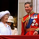 Pictured: Queen Elizabeth the Queen Mother and Prince Charles.