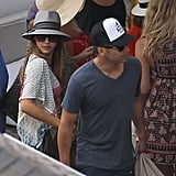 Jessica Alba and Cash Warren both wore hats in St. Barts on Friday.