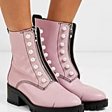 3.1 Phillip Lim Hayett Faux Pearl Embellished Leather Ankle Boots