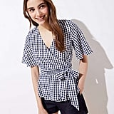 Loft Gingham Wrap Top