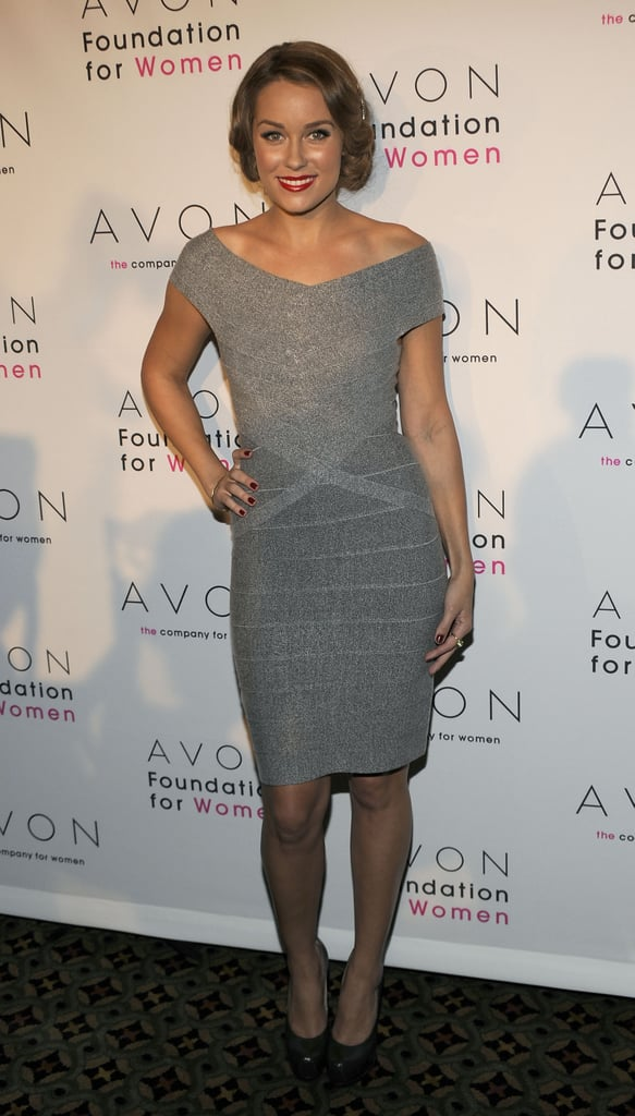 "Wearing a Hervé Léger dress and YSL heels at the Avon Foundation's celebration for ""Champions Who Change Women's Lives"" in October 2009."