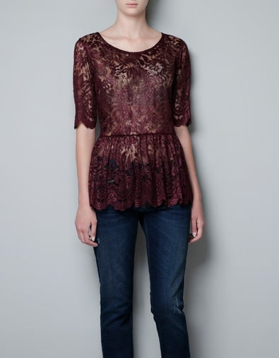 The perfect blouse to dress up your jeans for the holiday party circuit and beyond. Zara Peplum Lace Top ($60)