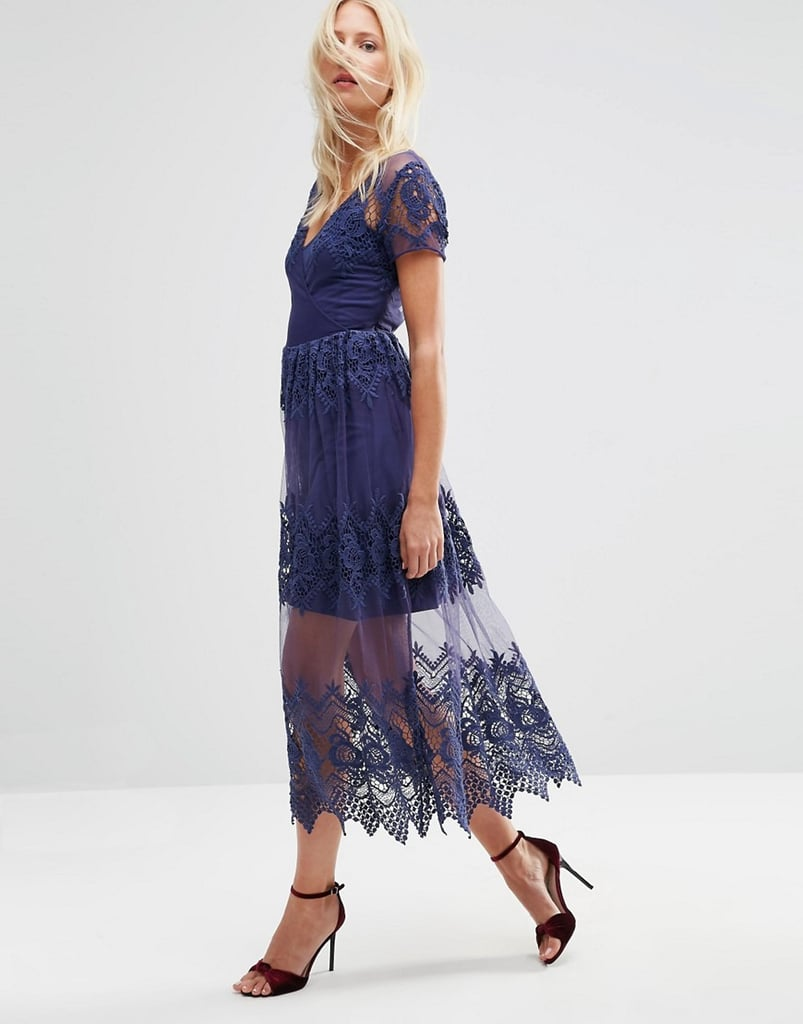 ASOS Embroidered Mesh and Lace Midi Dress ($113)
