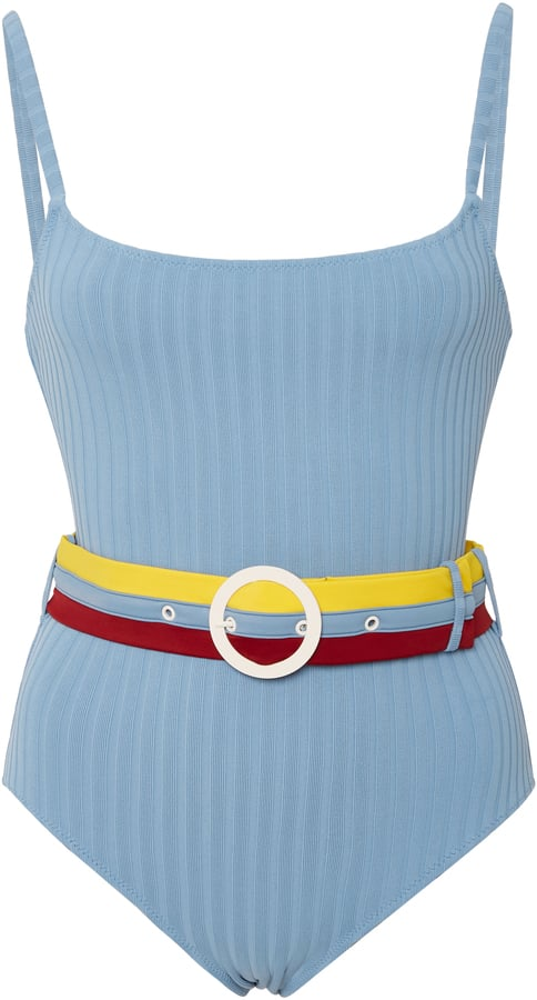 Solid & Striped Belted Ribbed One Piece Swimsuit