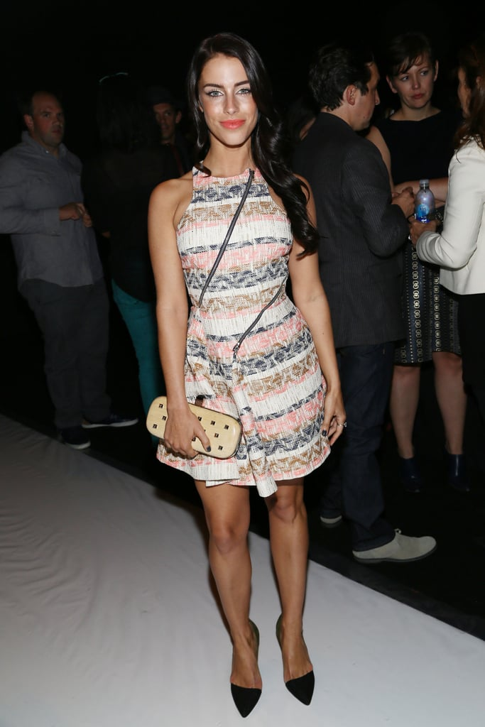 Jessica Lowndes donned a printed minidress with a studded clutch and pointy pumps at Rebecca Minkoff.