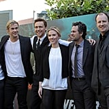 Scarlett Johansson was the center of a photo with Mark Ruffalo, Chris Hemsworth, and Tom Hiddleston.