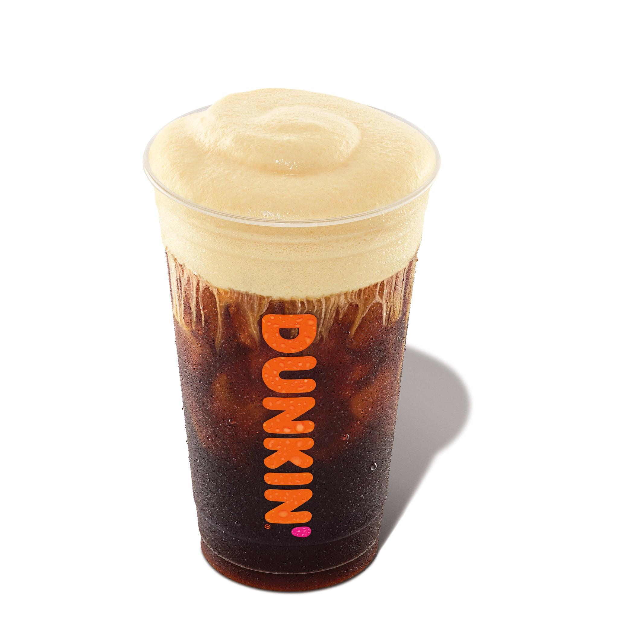 2021 Q1 Window 5 Retouched Product Image (Library Perspective):Pumpkin Cream Cold Brew with Cold Foam; branded plastic cup(image + shadow + white background/transparency)