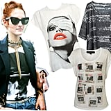 Taylor Tomasi Hill, Richard Nicoll Tee ($499), Surface to Air Rectangular Wild Tee ($225), Topshop Rock Slides  Tee ($40)  Source