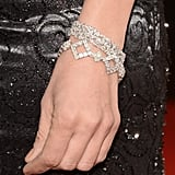 No shortage of sparkle here! Uma Thurman accessorized with a 40-carat asscher-cut diamond bracelet from Chopard.