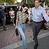 Kendall Jenner Was Seen in a Snakeskin Shirt and Jeans During MFW