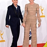 Presenter Ellen DeGeneres posed for pictures with her wife, actress Portia de Rossi.