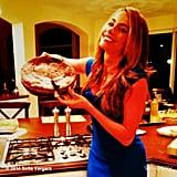 "Sofia Vergara posed with a cake with the caption ""already broke my new years resolution."" Source: Sofia Vergara on WhoSay"