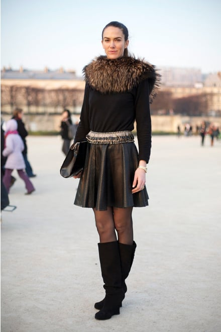"""Fur and baroque-tinged jewels make this perforated skirt —spotted during Fall 2011 Paris Fashion Week —look elegant.  Shop the look: <iframe src=""""http://widget.shopstyle.com/widget?pid=uid5121-1693761-41&look=4084986&width=3&height=3&layouttype=0&border=0&footer=0"""" frameborder=""""0"""" height=""""244"""" scrolling=""""no"""" width=""""286""""></iframe> Photo Courtesy  of Phil Oh"""