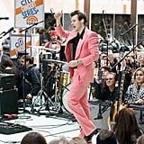 Harry Styles Wearing a Pink Edward Sexton Suit in 2017
