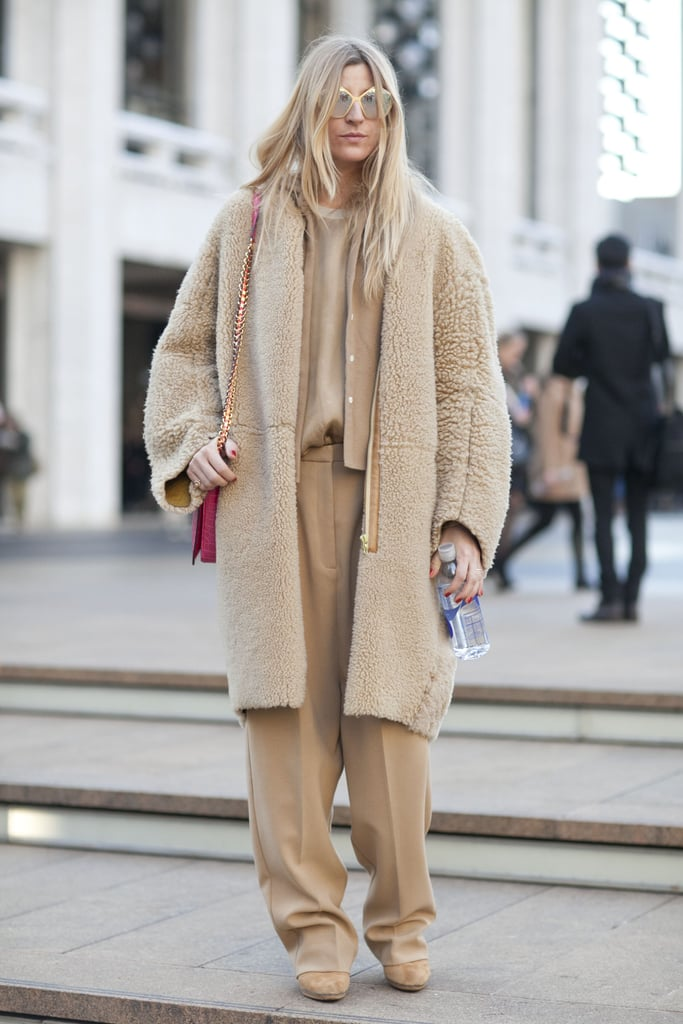 Monochromatic-cool with ample texture thanks to a fuzzy cocoon coat.